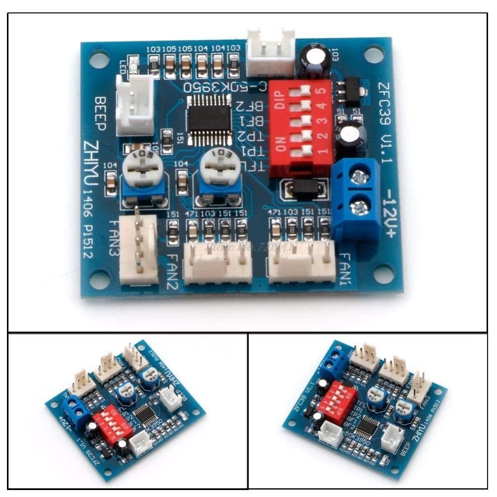 12V PWM PC CPU Fan Temperature Control Speed Controller Module High-Temp Alarm