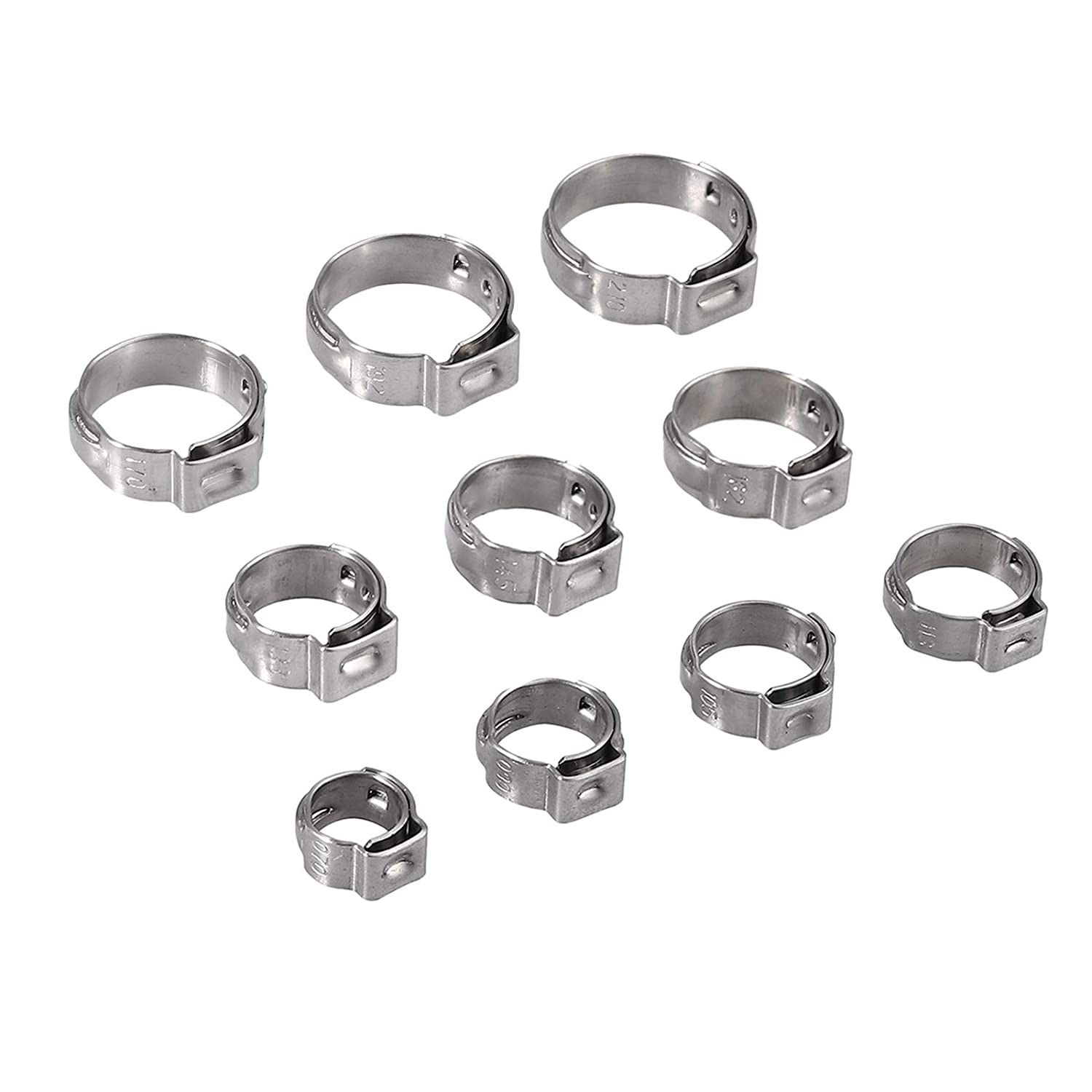 Stepless Hose Clamp AMTOVL Single Ear Stepless Hose Clamps Ear Hose Clamp Crimper 200pcs 5.8-21mm 304 Stainless Steel Cinch Clamp Rings Single Ear Pipe Clamps Crimper Tool Kit