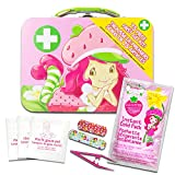 American Greetings Strawberry Shortcake Lunch Box Embossed Tin with Handle (Includes Bonus 75 Piece First Aid Kit for Girls Kids)