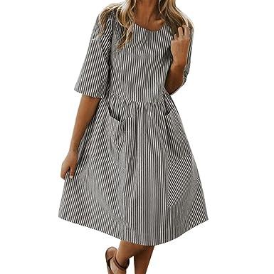 bdfade1705ea18 kingko® A Linie Kleider Damen 3/4 Arm Sommerkleid Tunika Elegante  Minikleider Strandkleider Partykleid