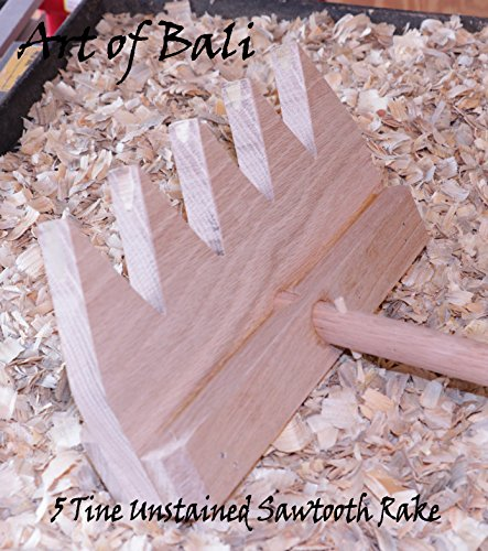 "Art of Bali 36"" 7 Tine Unstained Saw Tooth Zen Garden Rake – Art of Bali Original"