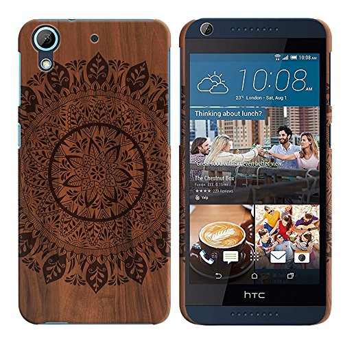 FINCIBO HTC Desire 626 626S Case, Back Cover Hard Plastic Protector Case Stylish Design For HTC Desire 626 626S - Full Black Leaf Mandala On Wood
