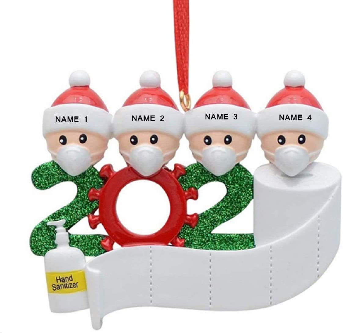 LSKUIKDS 2020 Ornament, Personalized Christmas Ornament Kit- Survived Family Special Keepsake Tree Hanging Home Party for Family/Friend/Co-Worker (style-2Family of 4)