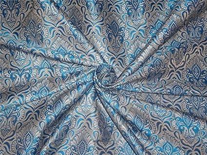 """Brocado tela azul 44 """"x de color plateado – Pasatiempos, casa decoración,"""