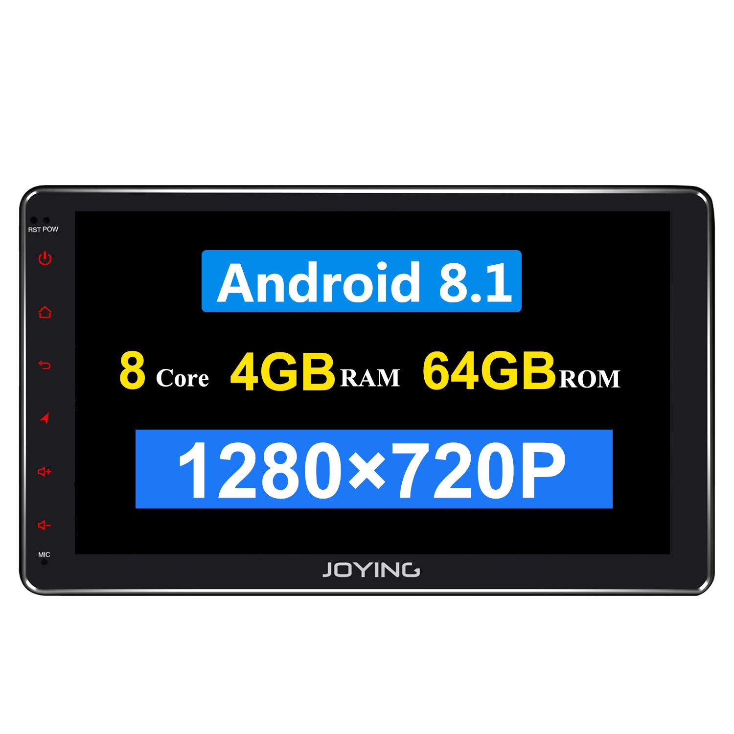 JOYING 10.1 Double Din Android 8.1 4GB + 64GB Car Stereo Built-in DSP LCD Touchscreen with 4G SIM Card Slot & 1280×720P Reslution - Supprot Android Auto DSP SPDIF Fast Boot WiFi OBD2 DVR by JOYING
