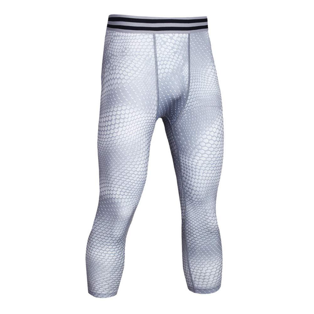HuntDream Pantaloni a compressione Capri 3/4 da uomo Collant Baselayer Cool Dry Sports