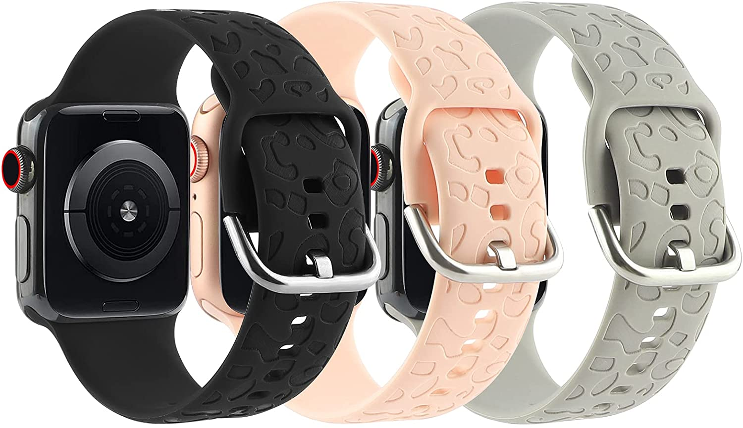 3 Pack Cheetah Engraved Strap Compatible with Apple Watch Bands 38mm 40mm,Fancy Leopard Laser Printed Soft Silicone Accessories for iWatch Series 1 2 3 4 5 6 SE Smartwatch