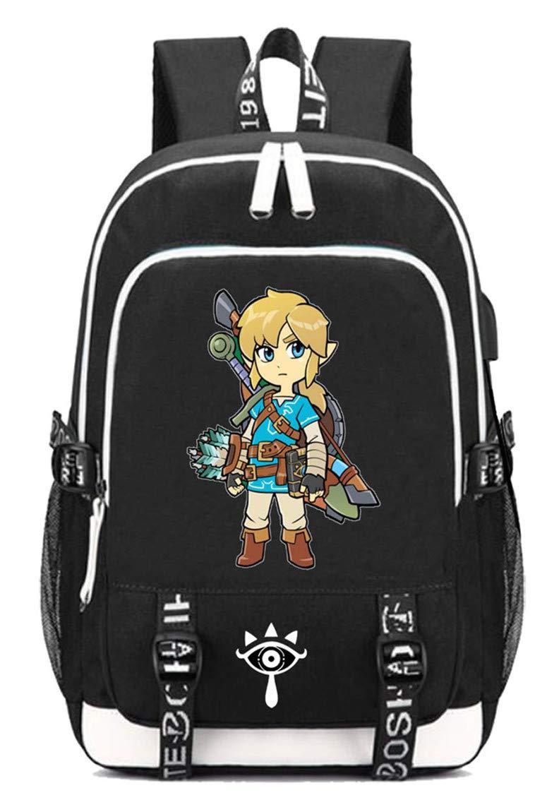 The Legend of Zelda  14 Cosstars The Legend of Zelda Game Rucksack Schoolbag Laptop Backpack with USB Charging Port and Headphone Jack  14