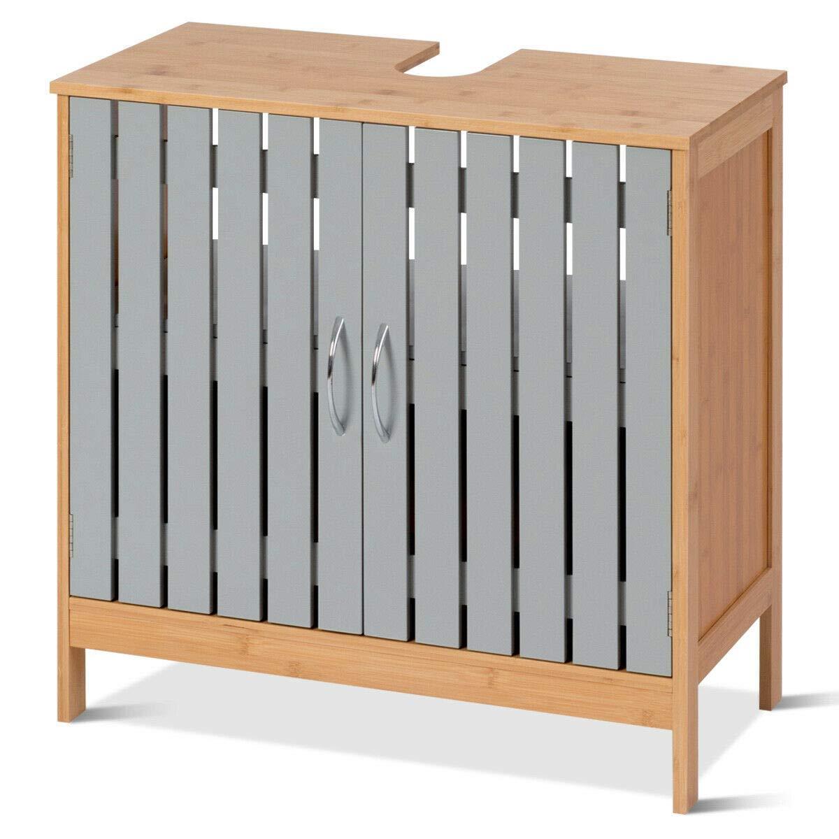 Bathroom Cabinet Shelf Under Sink Vanity Cabinet Bamboo Freestanding Storage
