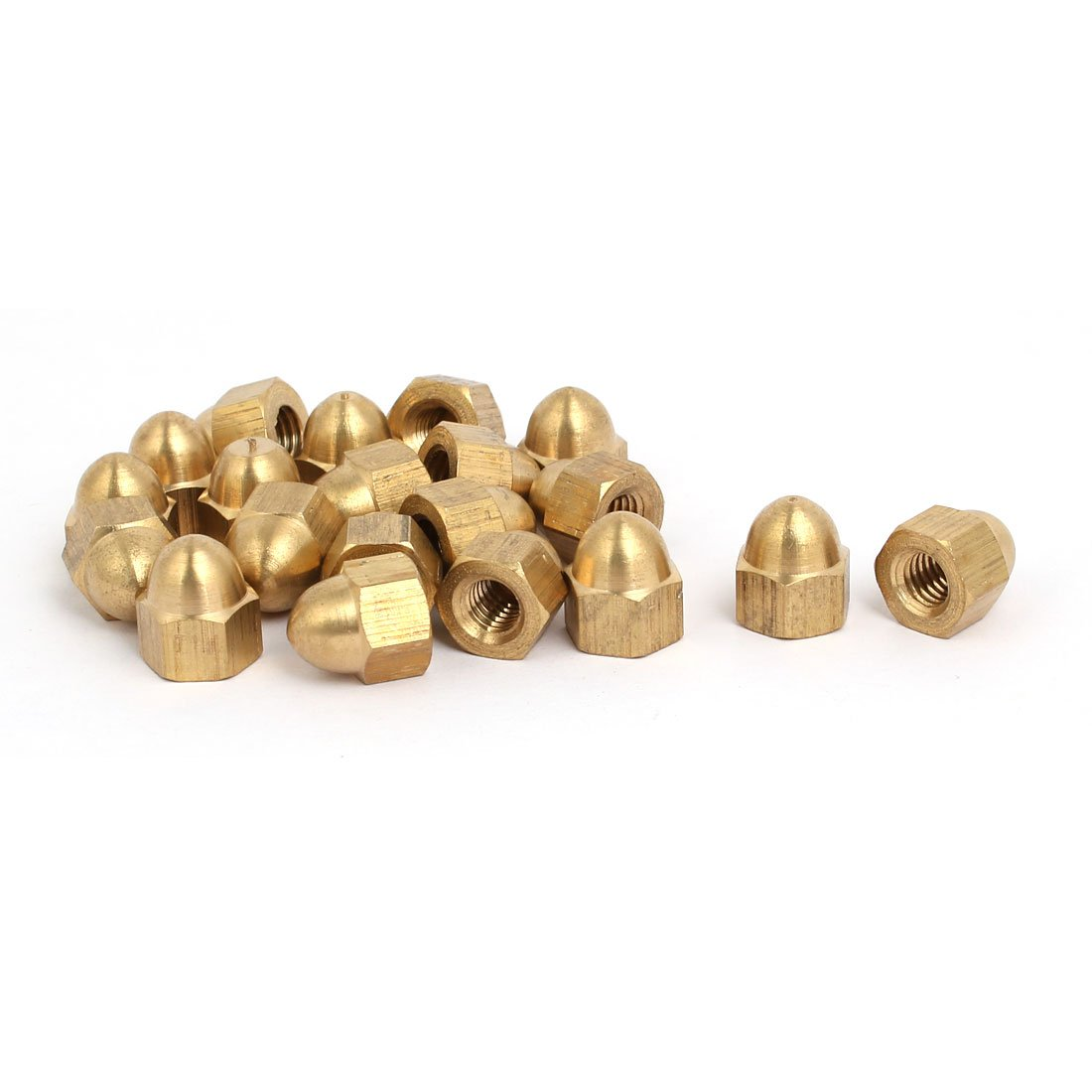 sourcingmap® 20pcs M6 Female Thread Nut DIN1587 Dome Cap Head Hex Brass Tone a17042400ux0016