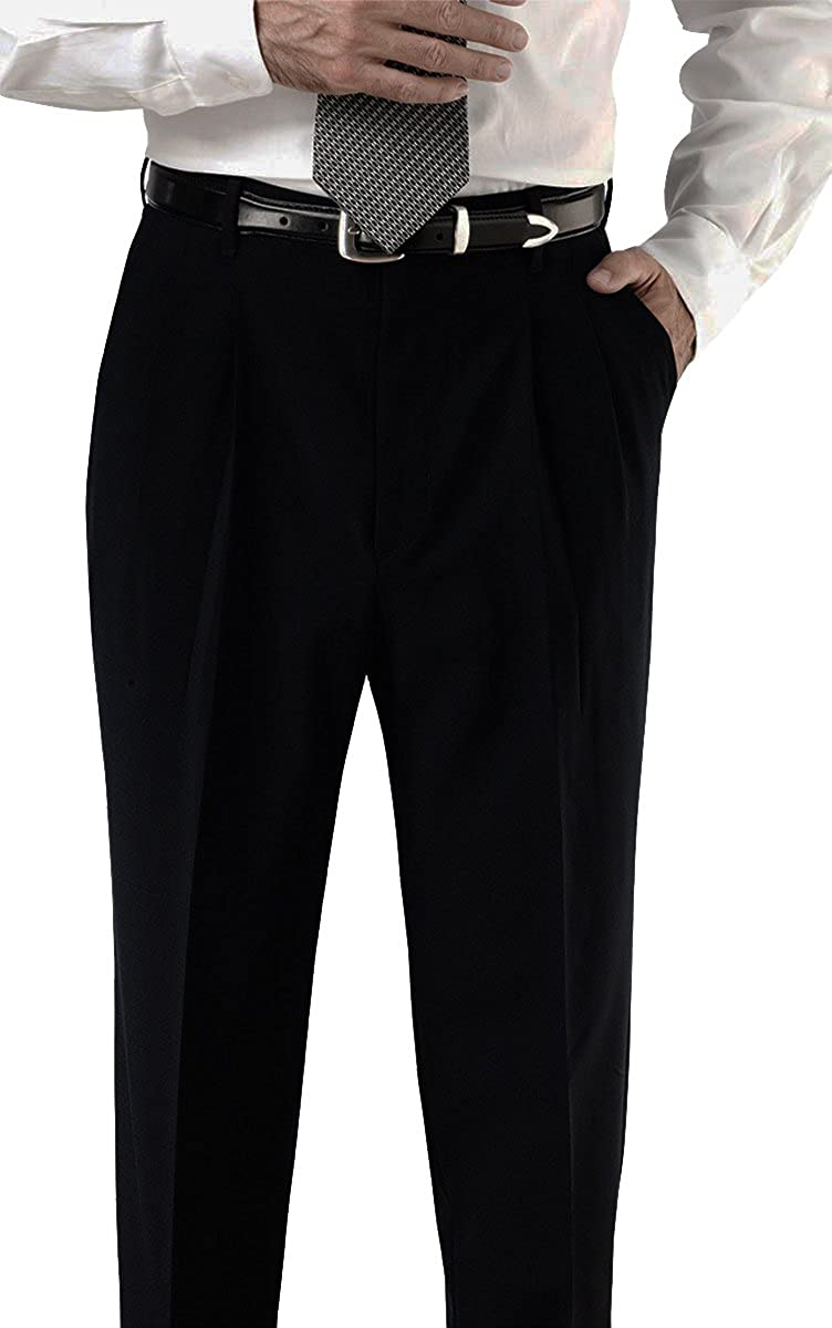 Ed Garments Mens Wrinkle Resistant Pleated Pant BLACK 40 32