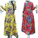 Flower Print Dress for Women Cotton and Linen Loose Long Sleeve Long Plus Size Red M