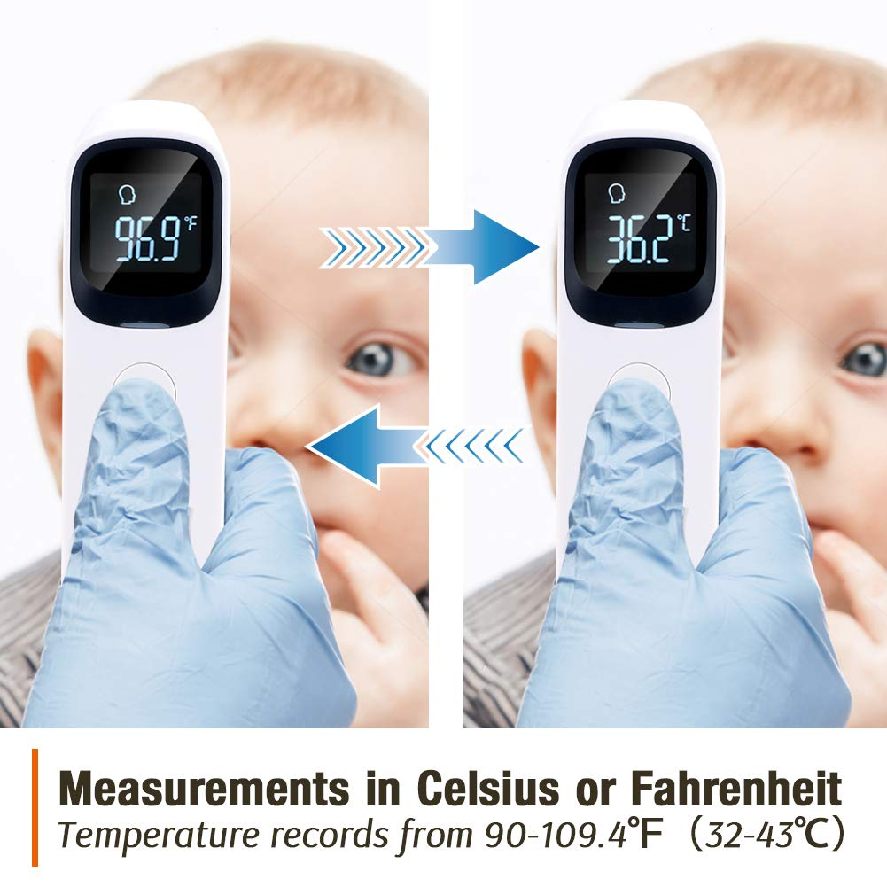 genaue Sofortmessungen mit LCD-Display 8-12 Tage schnelle Lieferung Ber/ührungsloses Stirn- und Ohr-Infrarot-Thermometer f/ür erwachsene Kinder Baby Fieberalarm ℃ ℉ Schalter