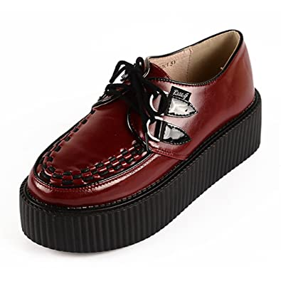 bb67d840349f5 RoseG Women's Wine Red Leather Lace Up Goth Punk Flats Platform Creeper  Shoes Size 5