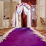 Baocicco 8x8ft Romantic Wedding Ceremony Luxury Hall Interior Backdrop Vinyl Photography Background Curtain Flower Bouquet Arch Purple Carpet Pink Roses Petals Bride Groom Happiness Day