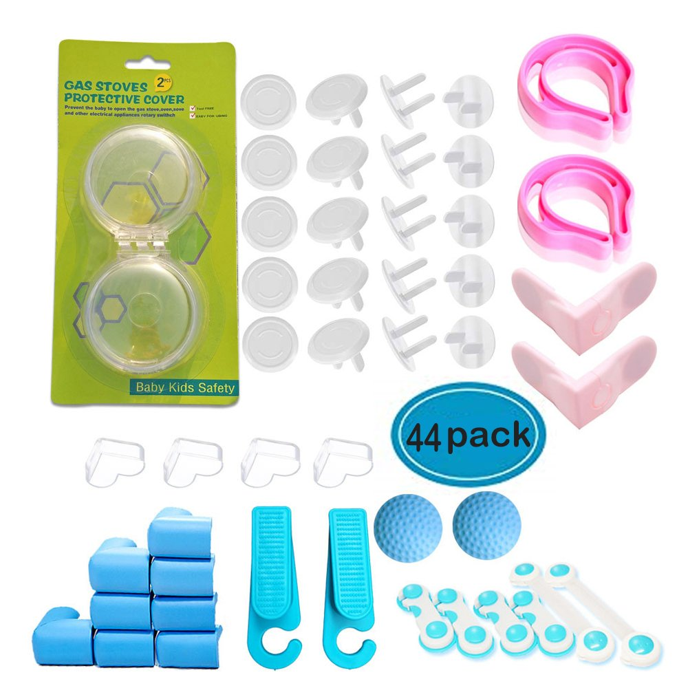 Baby/Toddler Proofing Safety Kit - 2 Door Stopper, 2 Door Finger Pinch Guard, 16 Electric Outlet Cover, 12 Corner Protector,8 Cabinet Lock,2 Door Knob Wall Shield,2 Gas Stove Knob Cover by Little Joy (Image #1)
