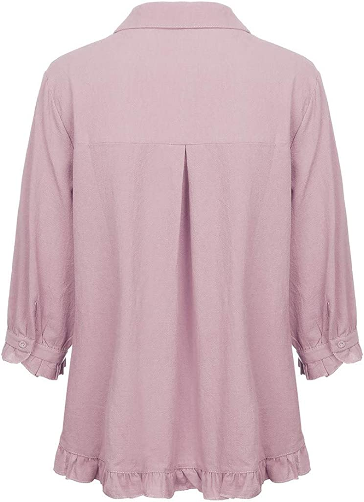 Jujunshangmao Ladies Lace Solid Color Shirt Five-Sleeve Ruffle Sleeve Top
