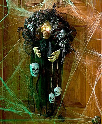 Haunting Home Decor Skull with Lighted Eyes Halloween Decoration Wreath