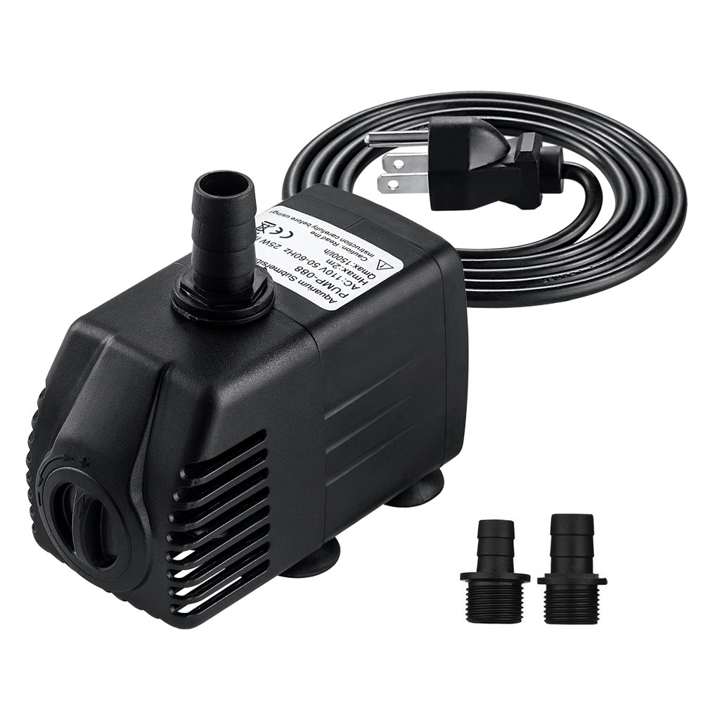 COCTIONE Submersible Pump 400GPH Fountain Water Pump for Aquarium, Fish Tank, Pond, Hydroponics with 4.9ft (1.5M) Power Cord (400GPH)