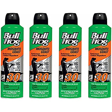 BullFrog Mosquito Coast Spray Sunscreen Insect Repellent SPF 30 6 Oz Pack Of 4
