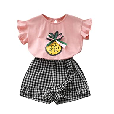 6d1de19881 Minisoya Summer Kids Toddler Baby Girls Cute Bowknot Pineapple T-Shirt Tops  Plaid Shorts Pants