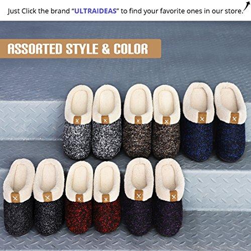ULTRAIDEAS Men's Comfort Memory Foam Slippers Wool-Like Plush Fleece Lined House Shoes