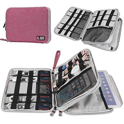 Travel Cords Organizer Case,BUBM Space Saving Electronics Accessories Storage Bag for iPad, USB, Flash Drive, Phone, Charger, Power Bank, Travel Gear Organizer(Large, Pink+Grey)
