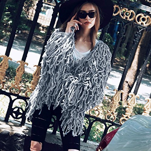 de Warm Abrigo Outwear Fur Winter para Gris Oversized Women Mujer Chaqueta Kanpola Cardigan Knit Peludo 's qtfz8