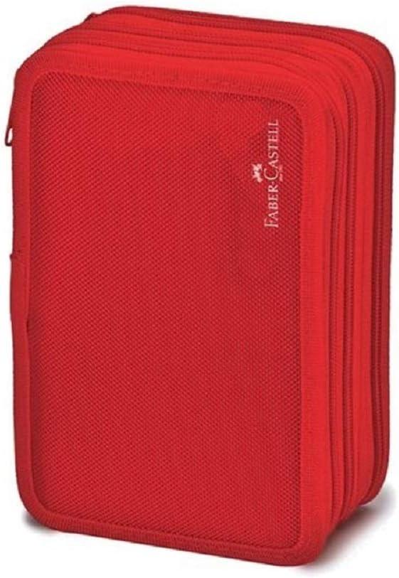 Faber Castell - Estuche escolar triple completo con 3 cremalleras, color rojo: Amazon.es: Oficina y papelería