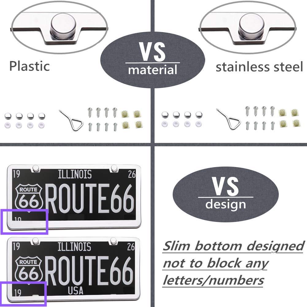 Sliver | 2PCS moveland 2019 2 Holes Stainless Steel License Plate Frame for US Standard