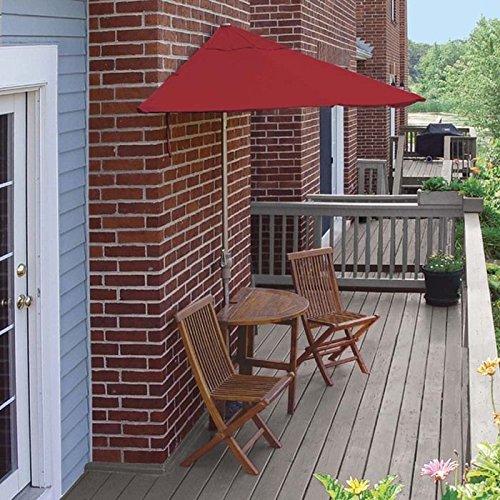 Blue Star Group Terrace Mates Bistro Premium Table Set w/ 9'-Wide OFF-THE-WALL BRELLA - Jockey Red Sunbrella (Red Sunbrella Canopy)