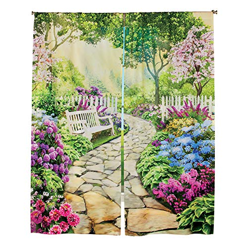 Collections Etc Colorful Garden with Stone Path Scene Window Curtain Drapes with Rod Pocket Top - Decorative Accent for Any Room in Home