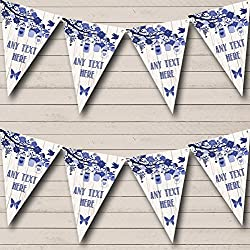 Shabby Chic Vintage Wood Blue Personalized Retirement Party Bunting Banner