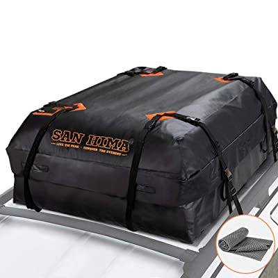 SANHIMA Roof Cargo Carrier Bag - (15 Cubic Feet) Heavy Duty Roof Bag with Anti-Slip Mat, Waterproof Excellent Quality Rooftop Cargo Box for All Vehicle with/Without Rack: Home Improvement