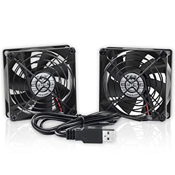 ELUTENG Ventilador USB 80mm Doble Fan 5V 0.24A Ventilador para PC 2 In 1 Cooler USB Fan 8cm Ventilador Portatil para Laptop/Receptor/Armario AV/Proyector: ...