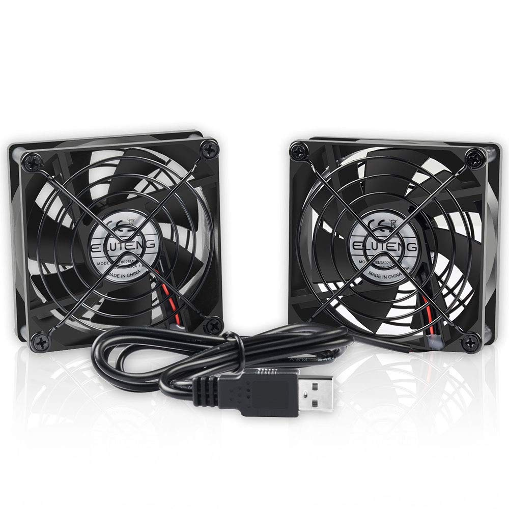 ELUTENG Dual 80mm Fan 2700RPM 2in1 3 Inch USB Ventilator Compatible for Computer/Laptop/Router/DVR/Xbox/PS4/PS3/PS2 Cooling Fan 5V Fan 38 DB