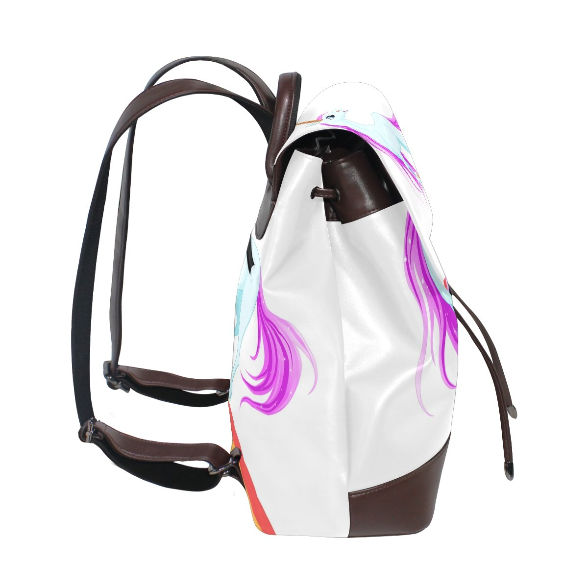 imobaby Fashion Blue Unicorn PU Leather Women Girls Ladies Backpack Travel bag,Multi065