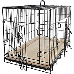 "Pet Dog Cat Crate Kennel Cage and Bed Pad Cushion Warm Soft Cozy House Kit Playpen - 24"" Inches"