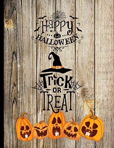 Happy Halloween Trick Or Treat: Jack O Lanterns Pumpkins Candles Antique Wood Fence Autumn Halloween Inspired Journal ()