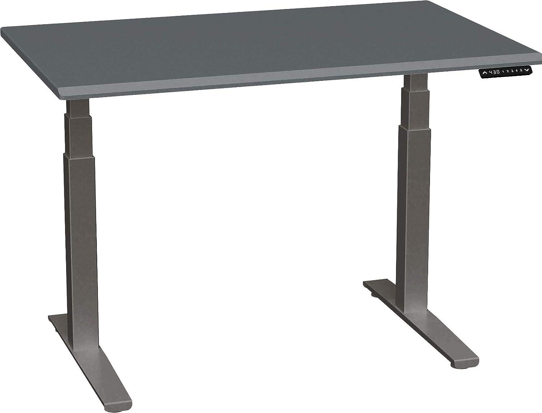 SmartMoves by Howard Miller Dual Motor Electric Adjustable Height Desk with Beveled Desktop (48 in Width, Carbon Fiber Desktop/Charcoal Base)