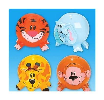 Amazon.com: (4) hinchable Zoo Animal Forma Playa bolas 12 ...
