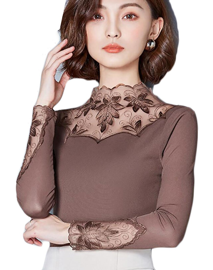ainr Women's Winter Turtleneck Lace Trim Mesh Stretch Long-Sleeved T-Shirt Top Coffee L
