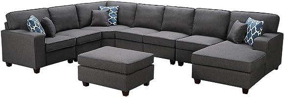 Lilola Home Irma Dark Gray Linen 8Pc Modular Sectional Sofa Chaise and Ottoman - a good cheap living room sofa