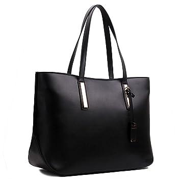 f7fc6152d0284 Damen Handtasche Shopper Damentasche Tragetasche Schultertasche XXL Groß ( Schwarz)
