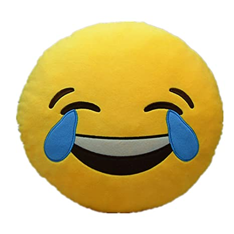 LI&HI 32cm Emoji Smiley Emoticon Yellow Round Cushion Pillow Stuffed Plush Soft Toy (Laugh to tears)