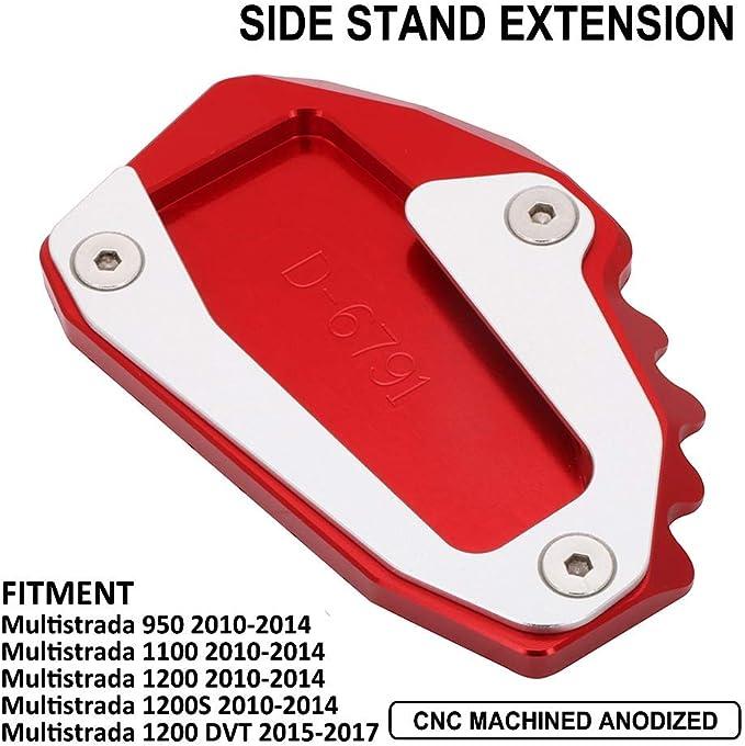 Ysmoto Motorrad Kickstand Fußpolster Cnc Seitenständer Verlängerung Pad Stützplatte Für Ducati Multistrada 950 1100 1200 1200s 1200 Dvt Rot Auto
