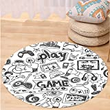 VROSELV Custom carpetVideo Games Black and White Sketch Style Gaming Design Racing Monitor Device Gadget Teen 90s Bedroom Living Room Dorm Decor Blak White Round 47 inches