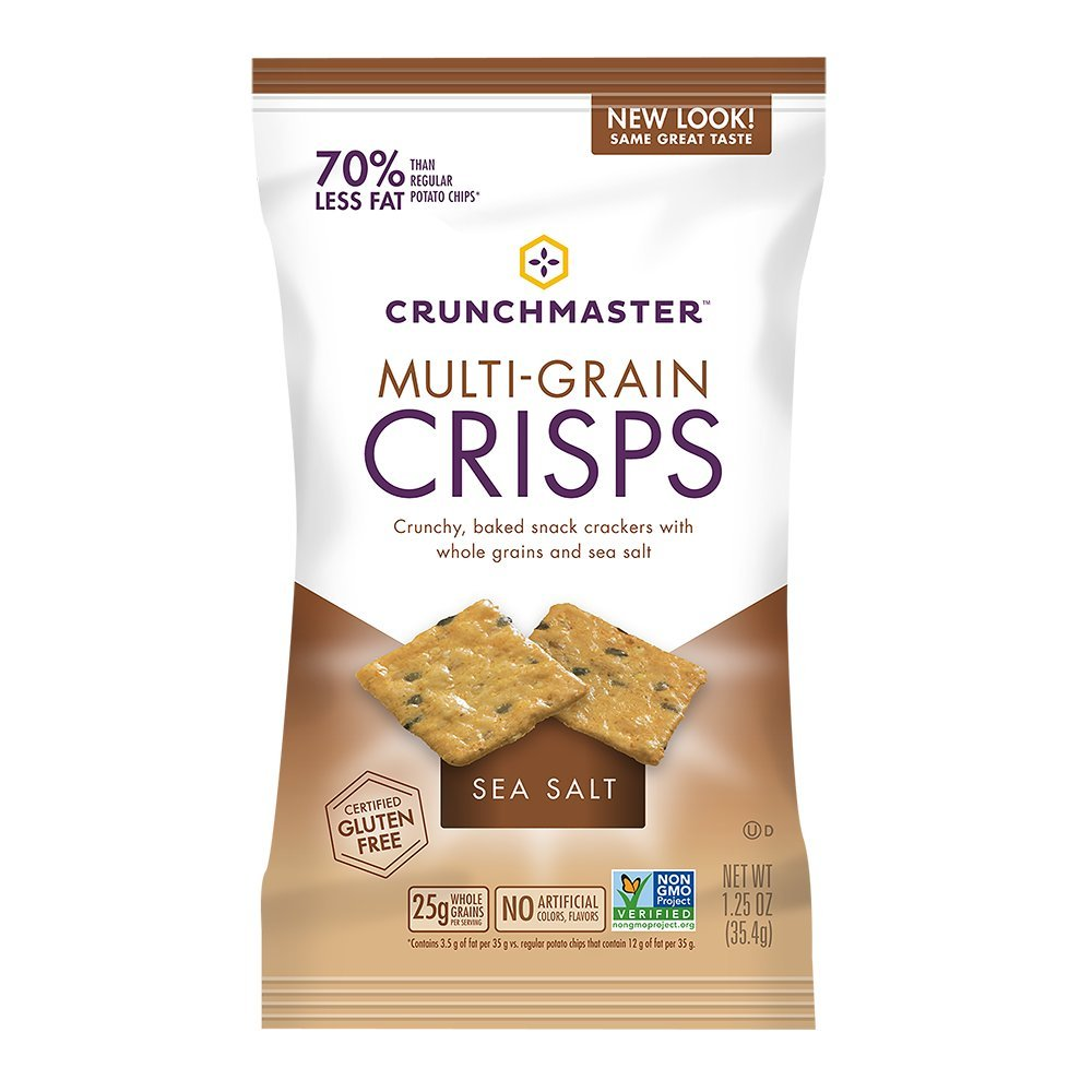 Crunchmaster, SingleServe MultiGrain Crisps Sea Salt 1.25 oz Pack of NonGMO Project Verified Certified Gluten and Cholesterol Free No Artificial Colors or Flavors by TH Foods, Salted, 30 Ounce