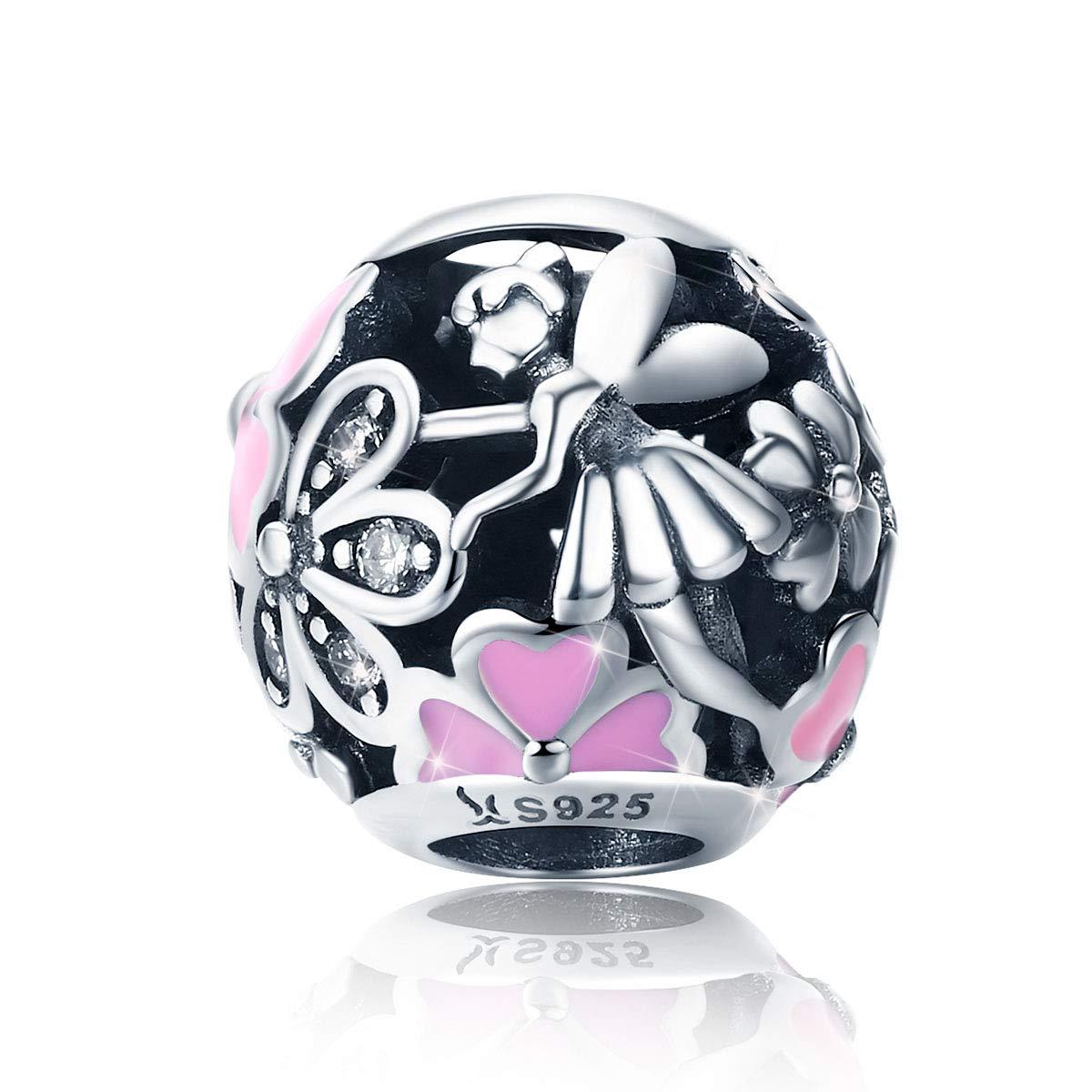 Sterling Silber 925 Herz Charms Anhänger mit Rosa Zirkonia für Damen Charm Armband Halskette Muttertag Geschenke