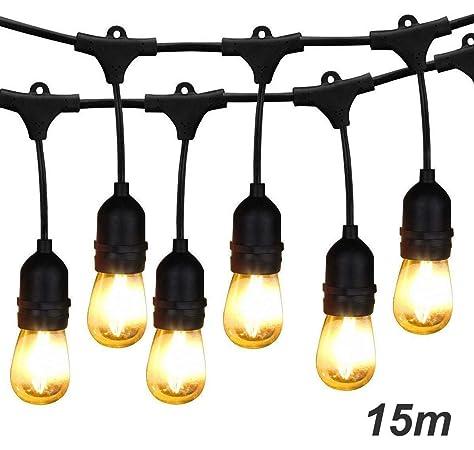 BRIMAX Luces de Cadena, Impermeable IP65,49Ft/15M, Guirnalda Luces ...